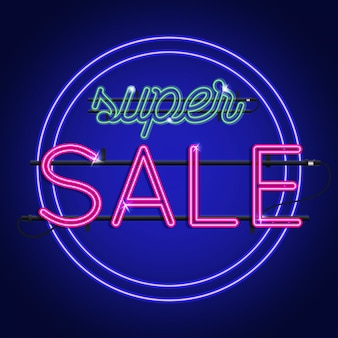Bright neon super sale sign.  background for your advertise, discounts and business.