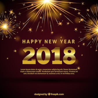 Bright new year 2018 golden background