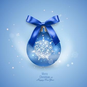 Яркая новогодняя открытка с реалистичным елочным шаром, украшенным бантом