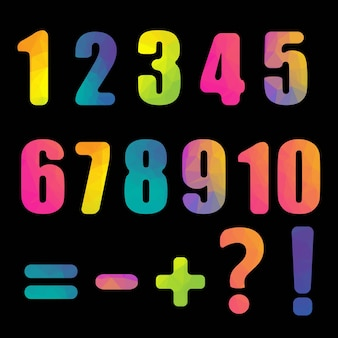 Яркие цифры с черным фоном
