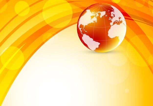 세계와 밝은 오렌지색 배경. 추상 그림