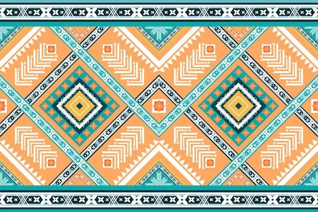明るいオレンジグリーンは、民族の幾何学的な東洋のシームレスな伝統的なパターンを織ります。背景、カーペット、壁紙の背景、衣類、ラッピング、バティック、ファブリックのデザイン。刺繡スタイル。ベクター