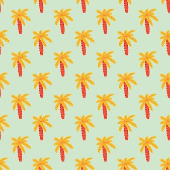 Bright orange palm tree ornament seamless doodle pattern