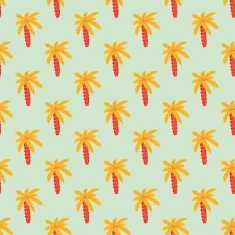 明るいオレンジ色のヤシの木の飾りシームレスな落書きパターン