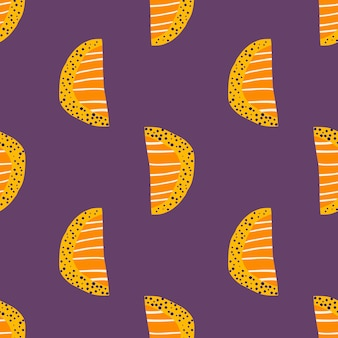 Bright orange slices seamless pattern. abstract doodle fruit silhouettes on purple background.