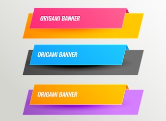Bright origami banners design set