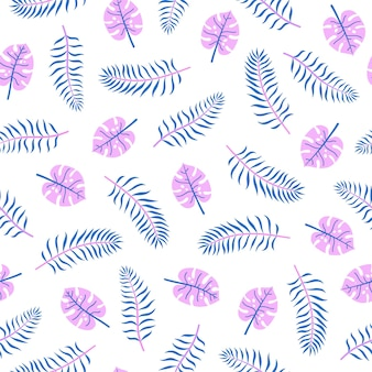Bright palm leaves vector seamless pattern