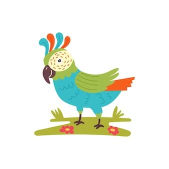 푸른 잔디를 걷는 밝은 앵무새