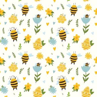 꿀벌과 노란색 배경에 밝은 패턴