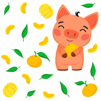 小さな豚とみかんのイラストと明るいパターン