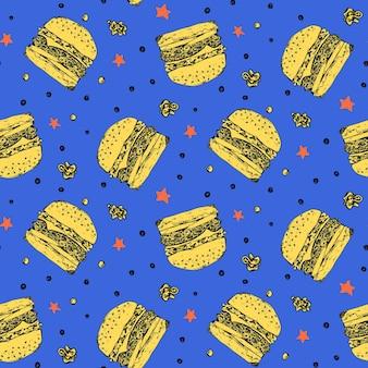 파란색에 노란색 햄버거와 밝은 패턴 프리미엄 벡터
