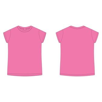 Ярко-розовая хлопковая футболка пустой шаблон. детская футболка технического эскиза, изолированные на белом фоне. спереди и сзади.