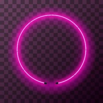 Ярко-розовая неоновая круглая рамка на прозрачном фоне