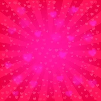 Bright pink rays background, lot of hearts. romantic wallpaper. valentine s day or wedding backdrop template. comics, pop art style.