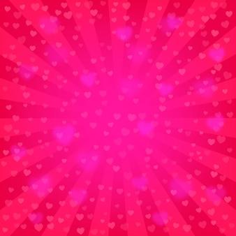 明るいピンクの光線の背景、たくさんの心。ロマンチックな壁紙。バレンタインデーや結婚式の背景テンプレート。コミック、ポップアートスタイル。