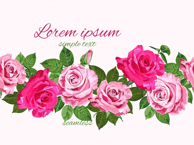 明るいピンクのバラのシームレス花柄