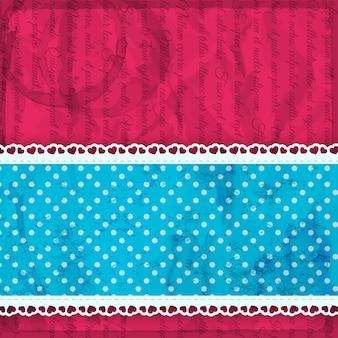 生地の薄いストリップとフリルのベクトル図と明るいピンクのバレンタイン