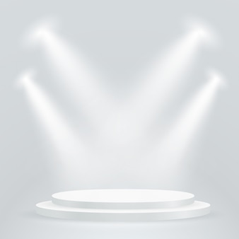 Bright podium with projectors.
