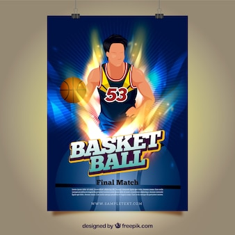 Bright poster of basketball player