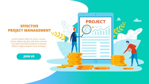 Bright poster effective project management flat.