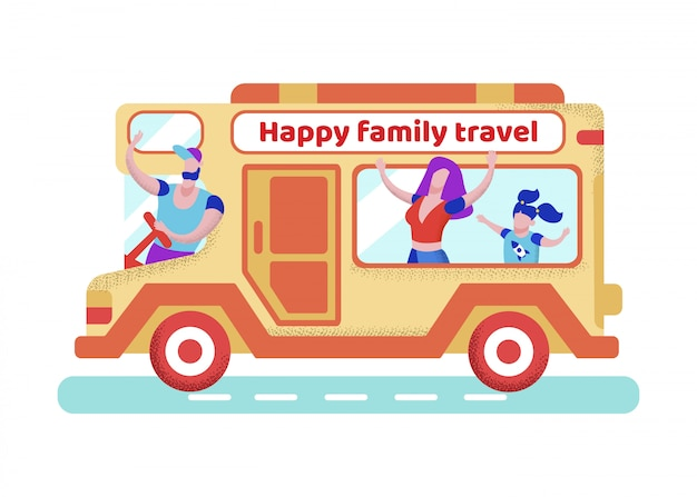 Bright poster inscription happy family travel.