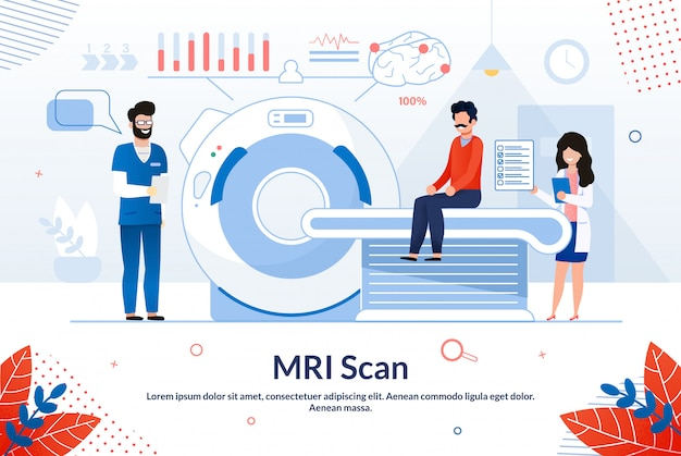 Bright poster inscription mri scan cartoon flat.