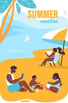 Bright poster inscription summer vacation cartoon