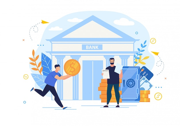 Bright poster interest deposit to bank cartoon.