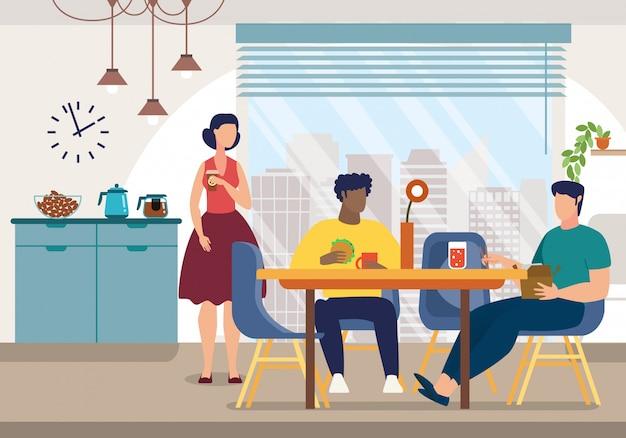 Яркий плакат современный персонал обеденный зал мультфильм.