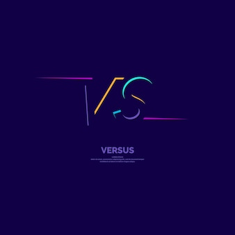 対決vsの明るいポスターシンボル。トレンディなミニマリストスタイルの暗い背景のベクトルイラスト。