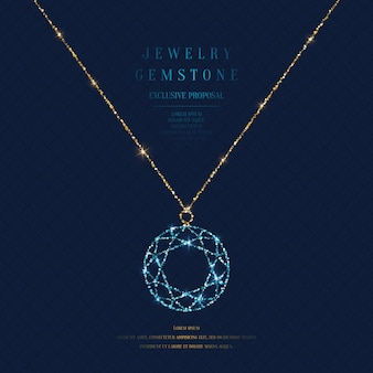 Bright poster with a precious pendant with a chain of gold glitter on a dark background with field for text.