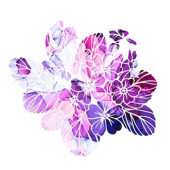 밝은 초본 보라색과 분홍색 수채화 텍스처