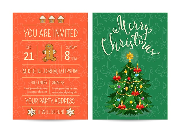 Bright promotion greeting card and invitation template for club christmas party