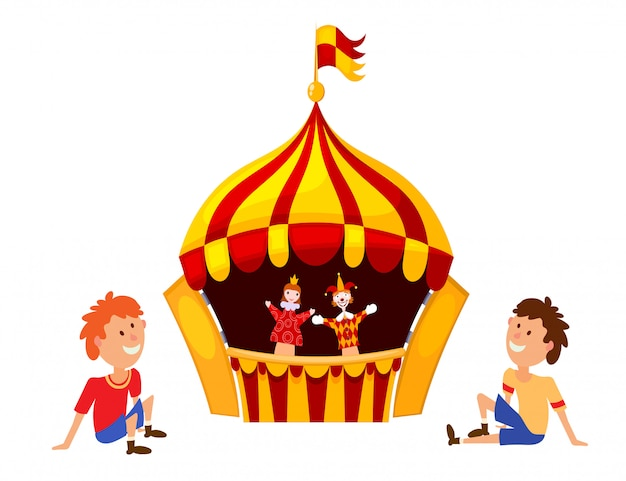 Bright a puppet theater on a white background
