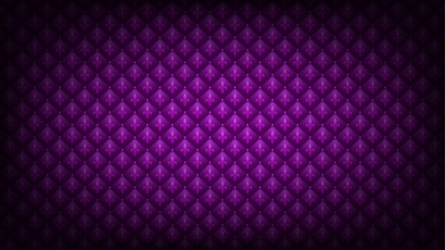 Bright purple mardi gras background. fleur-de-lis symbol at quilted royal luxury texture.