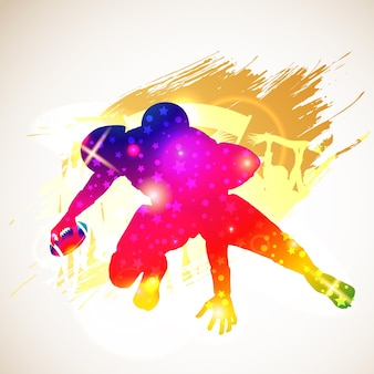 Bright rainbow silhouette american football player and fans on grunge background, vector illustration