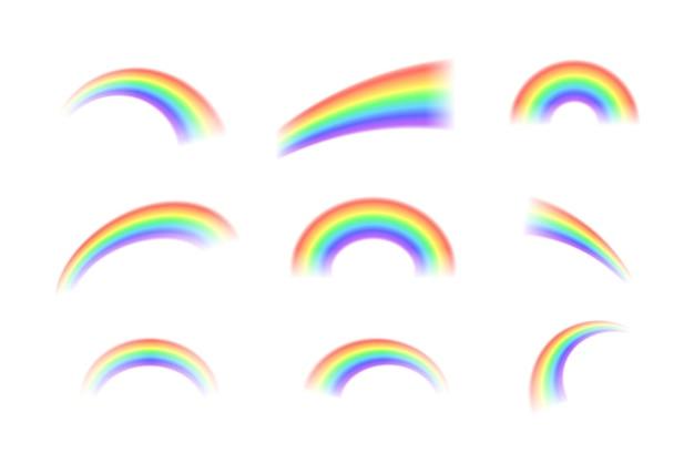 Яркие реалистичные арочные радуги и круглые радуги ореола