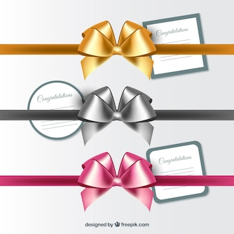 Bright realistic bows set