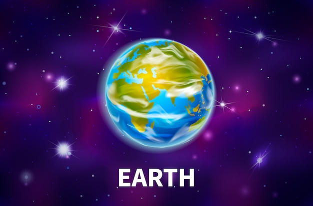 Bright realistic earth planet on colorful deep space background with bright stars