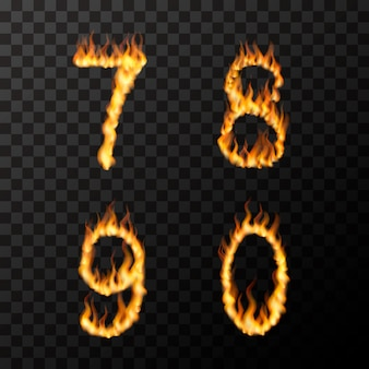 Bright realistic fire flames in 7 8 9 0 letters shape, hot font concept on transparent