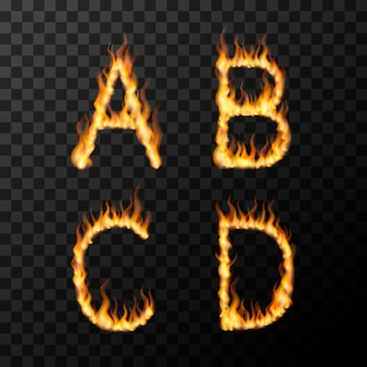 Bright realistic fire flames in a b c d letters shape, hot font concept on transparent