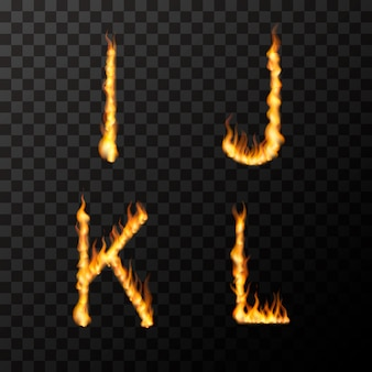 Bright realistic fire flames in i j k l letters shape, hot font concept on transparent