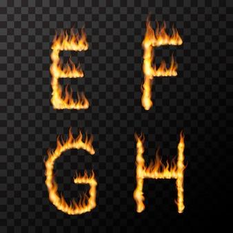 Efgh文字形状、透明のホットフォントコンセプトで明るくリアルな火炎
