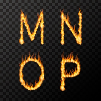 Bright realistic fire flames in m n o p letters shape, hot font concept on transparent
