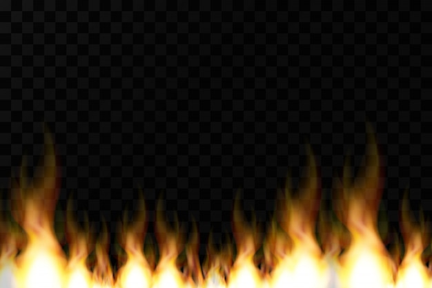 Bright realistic fire flames with transparency isolated on checkered vector background. special light effects collection for design and decoration