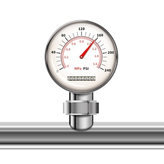Bright realistic manometer with glossy chrome pipe isolated in white