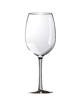 Bright realistic wine glass isolated on white