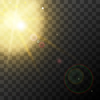 Bright realistic yellow sunbeam effect with lens flare on transparent