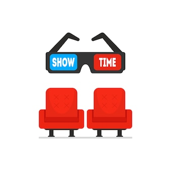 Bright red cinema armchairs and black 3d glasses.