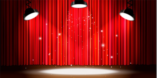 Bright red curtain with bright spotlight lighting, retro theater stage wide background